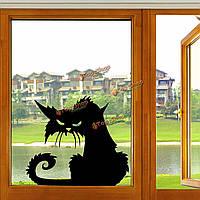 Хэллоуин страшно черный кот стекло стикер Хэллоуин Декор