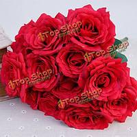 12 глав искусственного шелка розы цветы свадебный букет гортензии партии свадебный декор дома