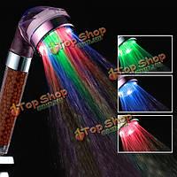 Ванной 3-х цветов LED свет автоматический датчик температуры отрицательной filiter шаровой головки ливня