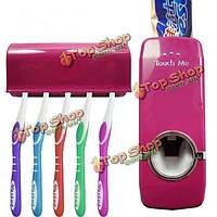 Настенный автоматическая Зубная паста распределитель с пятью зубных щеток установить наборов ванной семьи