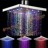 Романтические LED многоцветные квадратные 8 дюймов баня тропический душ головы