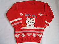 """Детский свитер """"Hello Petty"""" на девочку. 3-5 лет. Красный. Оптом."""
