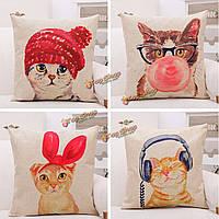 Творческий мило приветствия головные уборы кошка наволочка хлопок белье домой диван крышку подушки офис