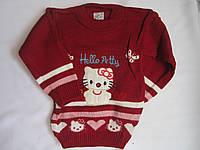 """Детский свитер """"Hello Petty"""" на девочку. 3-5 лет. Бордовый. Оптом."""
