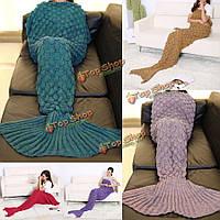 195x90см пряжи трикотажного хвост русалки одеяло ручной работы крючком бросить супер мягкий диван подстилке