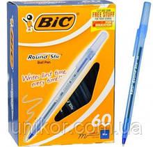 """Ручка кулькова """"Round Stic"""", корпус матовий, стрижень синій. BIC"""