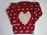 """Детский свитер """"Котенок в сердце"""" на девочку. 3-5 лет. Бордовый. Оптом."""