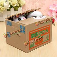 Копилка говорящий котик в коробке воришка монет
