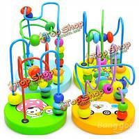 Детские деревянные игрушки мини вокруг бусины провод лабиринт образовательные игры безделушка