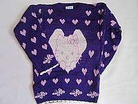 """Детский свитер """"Котенок в сердце"""" на девочку. 3-5 лет. Фиолетовый. Оптом."""
