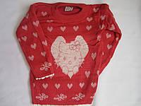 """Детский свитер """"Котенок в сердце"""" на девочку. 3-5 лет. Красный. Оптом."""
