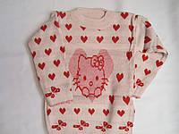 """Детский свитер """"Котенок в сердце"""" на девочку. 3-5 лет. Бежевый. Оптом."""