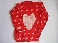 """Детский свитер """"Котенок в сердце"""" на девочку. 3-5 лет. Алый. Оптом."""