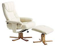 Стильное кремовое кресло  круглое с подставкой для ног (кож.зам)