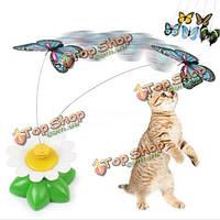 Смешно питомец кошка котенок игрушки электрические вращающиеся бабочка стержень домашняя кошка игрушка дразнилку игра