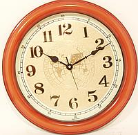 Часы настенные круглые в корпусе под цвет дерева( 355 мм )