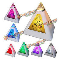 7 цветов изменение пирамиды красочные часы будильник цифровые LED Календарь термометр время