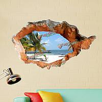 3D пляж наклейки для стен 38-дюймов съемный море стены искусства наклейки домашнего декора