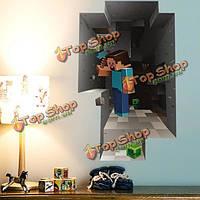 3D карликовая стикер стены мультфильм горнодобывающей промышленности гостиной украшение дома деколи DIY росписи стены искусства