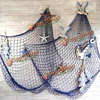 Сеть декоративная с ракушками синяя/белая