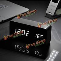 Голосового управления деревянный ящик LED будильник цифровой стол часы термометр календарь