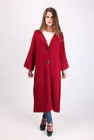 Стильное женское шерстяное пальто бордового цвета