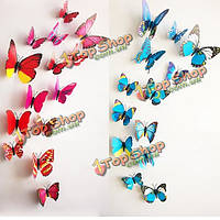 12шт стереоскопических 3D стикер стены бабочки гостиной украшение дома деколи DIY росписи стены искусства