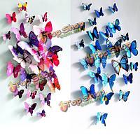 12 шт. клеющихся 3D бабочек разного размера