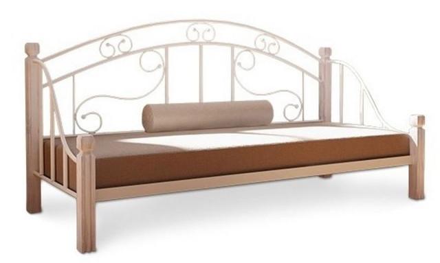 Диван-кровать металлическая на деревянных ножках Орфей (бежевый)