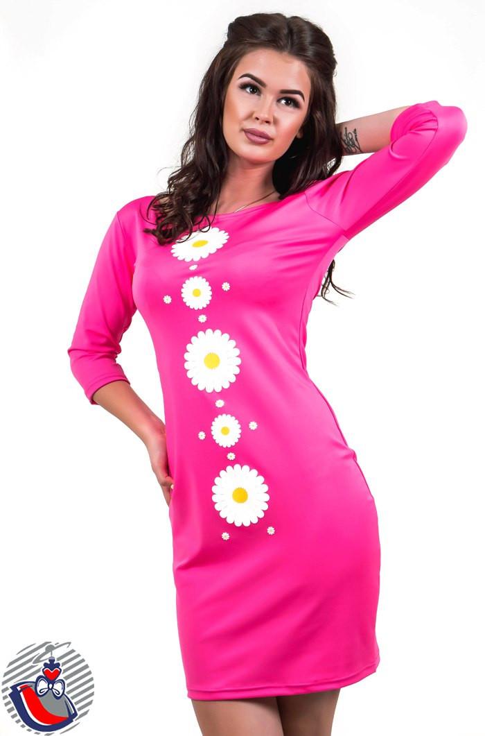 Платье с ромашками розовое