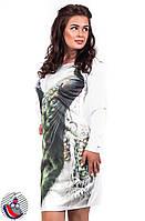 Платье белое Два павлина с длинным рукавом выше колен. Арт-2529/36