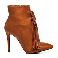 Модные замшевые ботильоны женские коричневые с кисточками