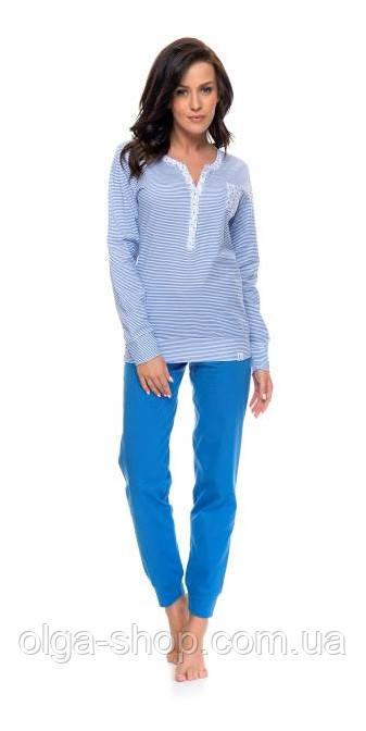 Пижама женская голубая Dobra Nocka 9088 брючная хлопковая