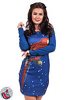 Платье синее Попугай с длинными рукавами . Арт-2532/36
