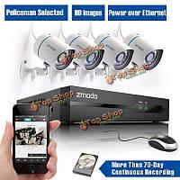 Zmodo ВСЕ в 1 4CH комплекты камер HD 720p PoE безопасности дома с 1TB WD HDD