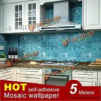 45x500см ПВХ стены кухни мозаика наклейки водонепроницаемая алюминиевая фольга самоклеющаяся ванной обои
