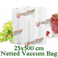 Утолщенной 25x500 сетчатой еды вакуумный мешок еды vegetabel фруктов мяса свежего вакуума мешок запечатывания