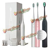 Junjiada звуковой импульс очистки электрическая зубная щетка Отбеливание мягкой щетиной для взрослых зубная щетка