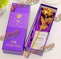 Сусальное золото 24k Золотая роза подарок на День Святого Валентина