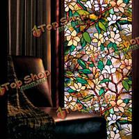 Статическая оконных пленок магнолии 3 метра ПВХ пленки стекло стикер без клея вилка художественное стекло плакат