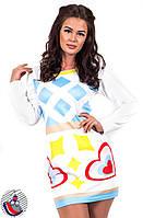 Платье белое с голубыми фигурками и длинными рукавами . Арт-2535/36