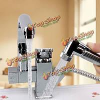 Кухонная раковина смеситель кран вытащить распылитель кран ванной двойной воды носики Поворот на 360 градусов