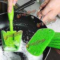 Мощная очистка губки щетка кухни плита чаша чистки щеткой с ручкой