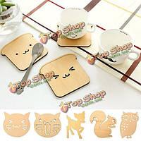 Животное каботажное держатель дерево пить чай чашка кофе коврик колодки стол декора посуда