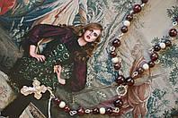 Серебряный розарий из граната с крестиком, фото 1