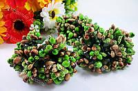 Декоративные ветки зелень с коричневым 3веточки