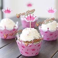 12шт розовые принцессы корона запеченные кекс бумажный стаканчик сдобы Cake Топпер