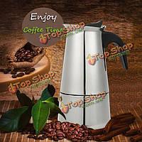 6 чашка 300мл нержавеющей стали мокко эспрессо Latte перколатор плитой кофеварка горшок