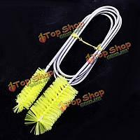 Аквариум двойная головка щетки желтые инструментом для очистки фильтра насоса труба