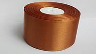 Лента атласная 5 см светло коричневая